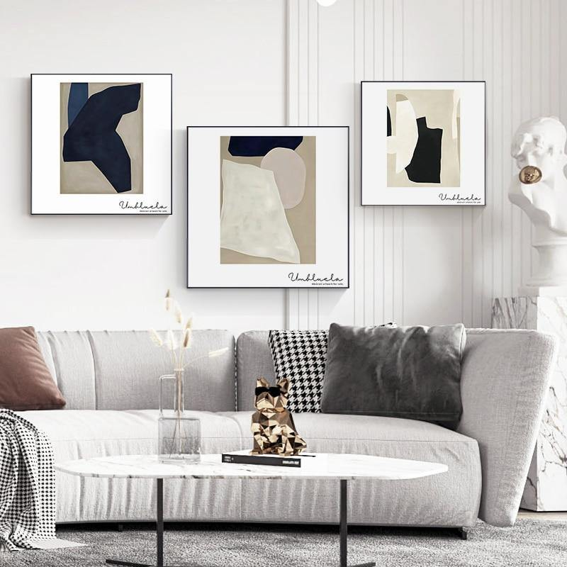 Geometric Abstract Fate Gray Wall Trio Prints from Gallery Wallrus | Eclectic Wall Art & Decor with Worldwide Shipping