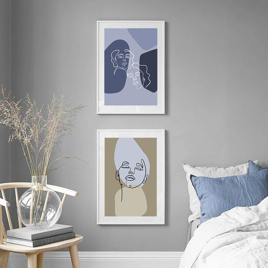 Abstract Faces Cool Tones Picture Wall Set from Gallery Wallrus | Eclectic Wall Art & Decor with Worldwide Shipping