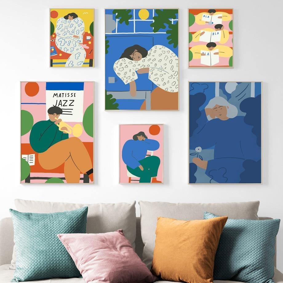 Abstract Figure Matisse Wall Art Canvas Painting Nordic Canvas Posters And Prints Vintage Wall Pictures For Living Room Decor from Gallery Wallrus | Eclectic Wall Art & Decor with Worldwide Shipping