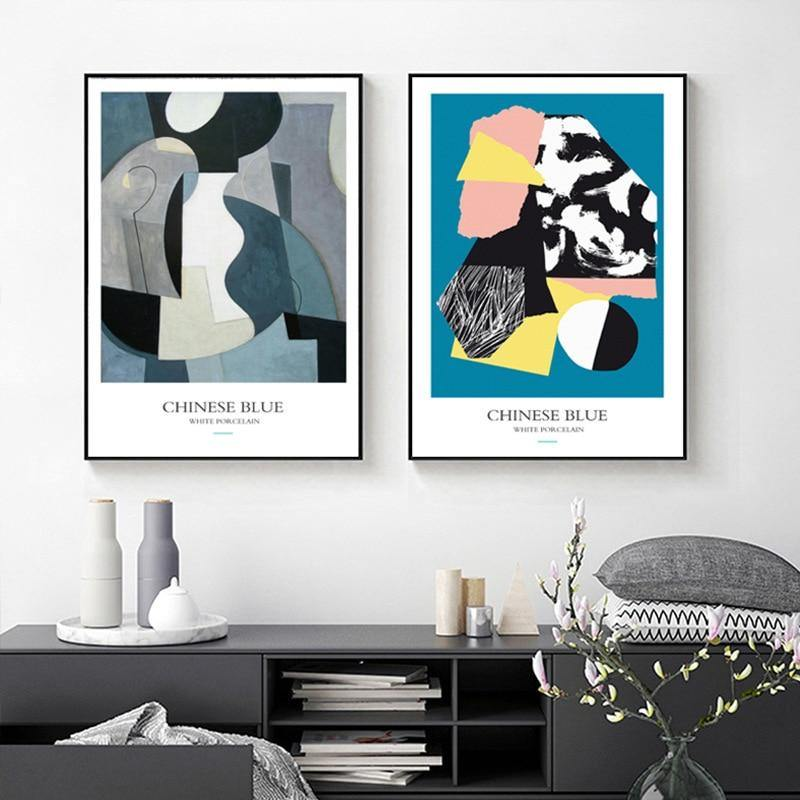 Abstract Geometric Chinese Blue Wall Art Prints from Gallery Wallrus | Eclectic Wall Art & Decor with Worldwide Shipping