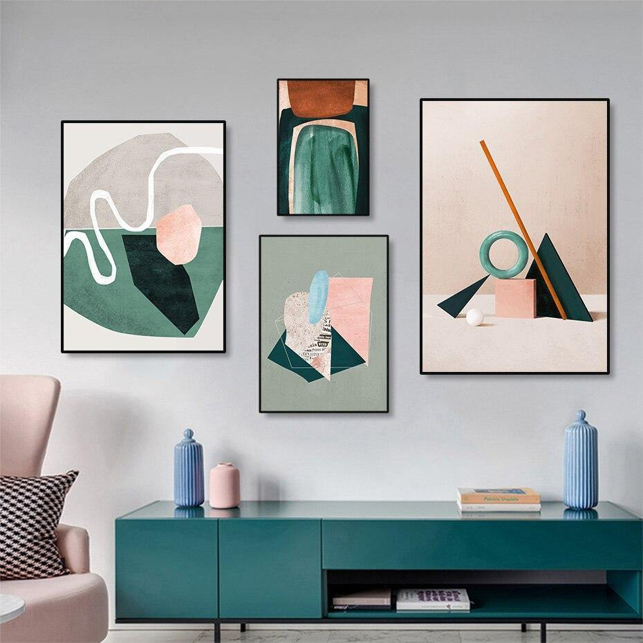 Abstract Pink & Green Geometric Wall Art Paintings from Gallery Wallrus | Eclectic Wall Art & Decor with Worldwide Shipping