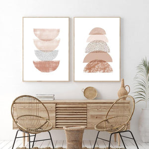 Neutral Geometric Boho Wall Art Duo from Gallery Wallrus | Eclectic Wall Art & Decor with Worldwide Shipping