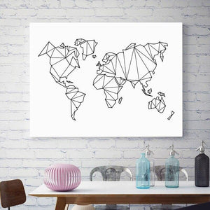 Geometric Sketch World Map Wall Art Print from Gallery Wallrus | Eclectic Wall Art & Decor with Worldwide Shipping