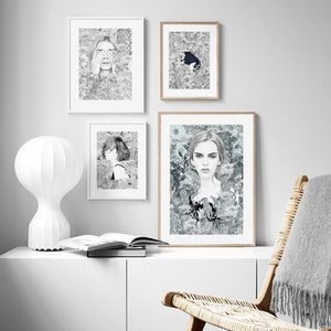 Abstract Floral Black & White Girl Painting Wall Art Mix & Match Set from Gallery Wallrus | Eclectic Wall Art & Decor with Worldwide Shipping