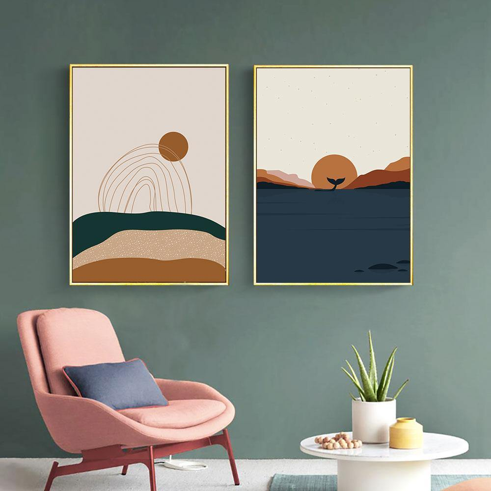 Abstract Blue Brown Scenic Art Print Duo from Gallery Wallrus | Eclectic Wall Art & Decor with Worldwide Shipping