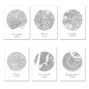 Cool Black & White Circle City Map Gallery Wall Art Prints from Gallery Wallrus | Eclectic Wall Art & Decor with Worldwide Shipping