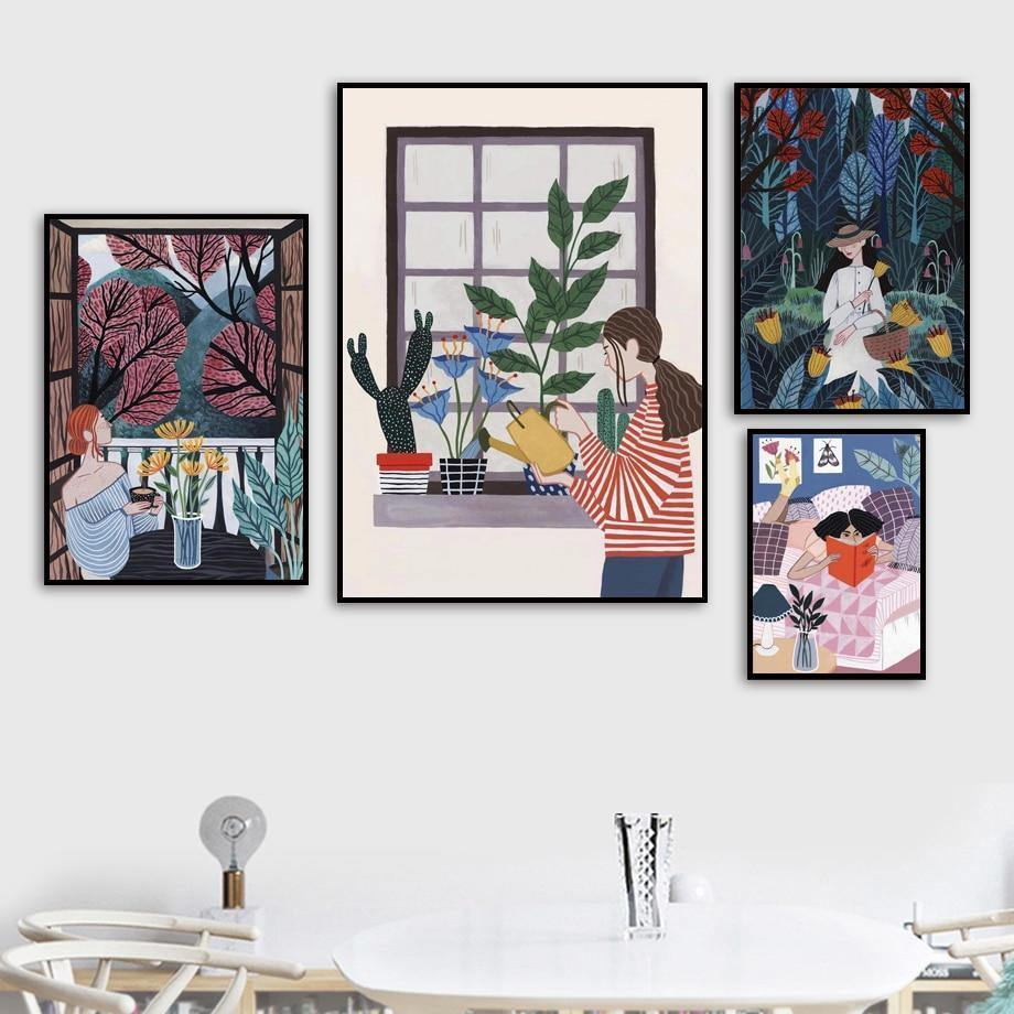 Purple & Blue Palette Hipster Boho Girl Paintings Gallery Wall Mix & Match from Gallery Wallrus | Eclectic Wall Art & Decor with Worldwide Shipping