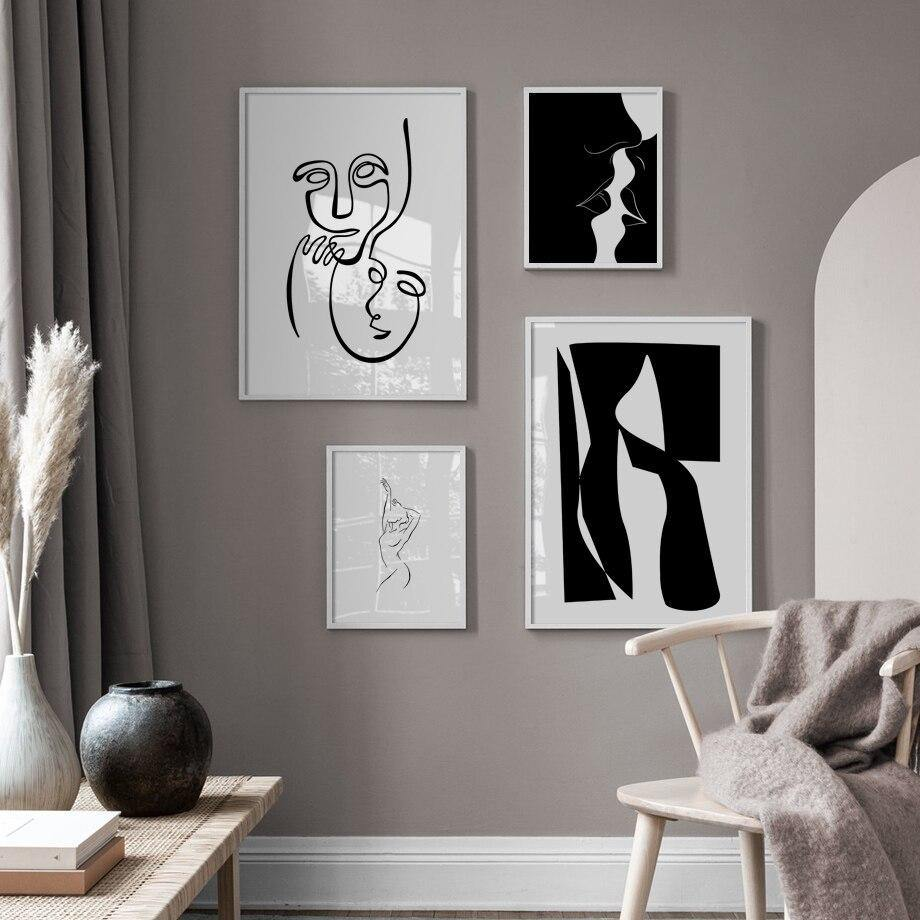 Abstract Black White Wall Art Paintings