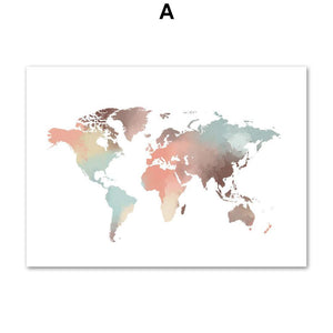 Abstract World Map Wall Art Pictures from Gallery Wallrus | Eclectic Wall Art & Decor with Worldwide Shipping