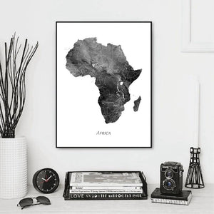 Sophisticated Abstract Black & White Map of Africa Art Print from Gallery Wallrus | Eclectic Wall Art & Decor with Worldwide Shipping