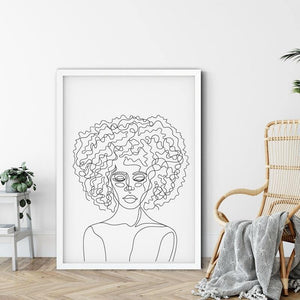 Afro Hair Line Drawing Art Print from Gallery Wallrus | Eclectic Wall Art & Decor with Worldwide Shipping