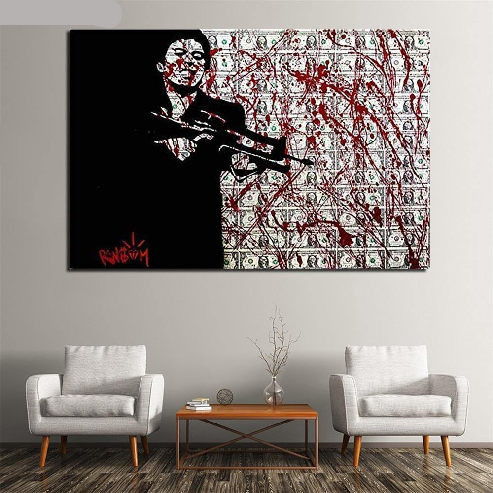 Framed Bloody Dollars Scarface Movie Wall Artwork Print from Gallery Wallrus | Eclectic Wall Art & Decor with Worldwide Shipping