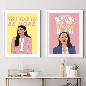 Alexandria Ocasio-Cortez Shake The Table Modern Art Prints from Gallery Wallrus | Eclectic Wall Art & Decor with Worldwide Shipping