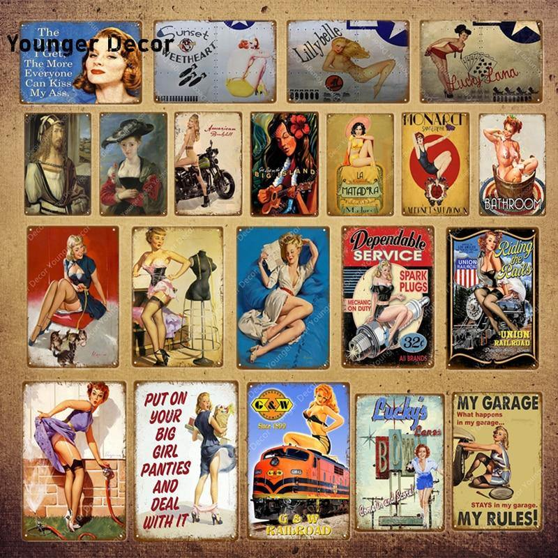 Vintage American Funny Girly Pin Up Garage Wall Signs (Mix & Match) from Gallery Wallrus | Eclectic Wall Art & Decor with Worldwide Shipping