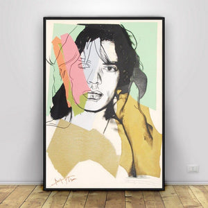 Abstract Young Mick Jagger by Andy Warhol Collection from Gallery Wallrus | Eclectic Wall Art & Decor with Worldwide Shipping