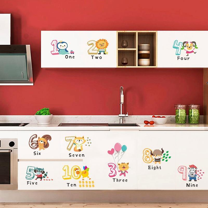 Animal English Number Education Wall Stickers from Gallery Wallrus | Eclectic Wall Art & Decor with Worldwide Shipping