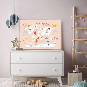 Animals Illustration World Map for Kids Bedroom from Gallery Wallrus | Eclectic Wall Art & Decor with Worldwide Shipping