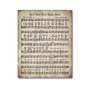 Antique Hymn: Turn Your Eyes Upon Jesus Sheet Music Art Print from Gallery Wallrus | Eclectic Wall Art & Decor with Worldwide Shipping