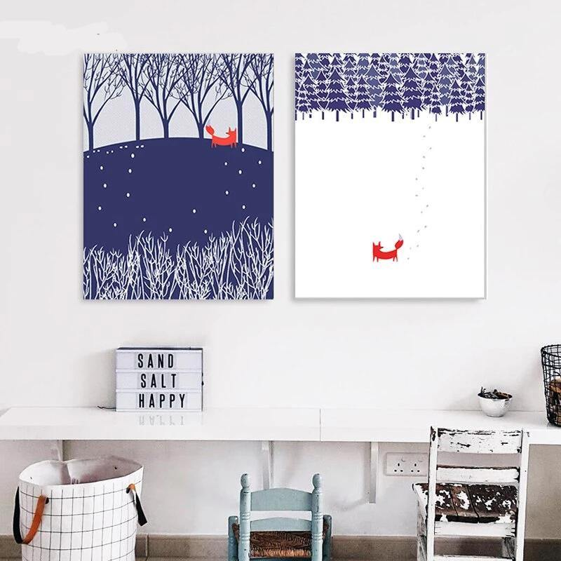 Red Fox Minimalist Artwork Duo from Gallery Wallrus | Eclectic Wall Art & Decor with Worldwide Shipping
