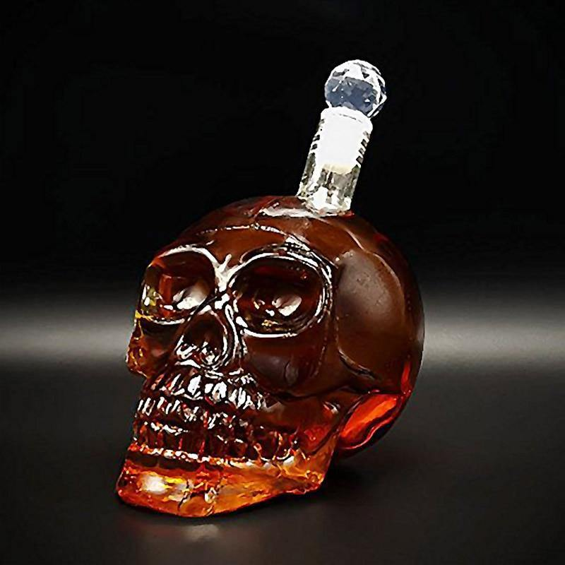 1000mL Skull Whiskey Glass Flask With Stopper from Gallery Wallrus | Eclectic Wall Art & Decor with Worldwide Shipping