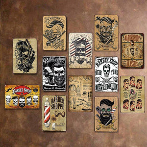 Heavy Metal Style Barber Shop Vintage Wall Signs from Gallery Wallrus | Eclectic Wall Art & Decor with Worldwide Shipping