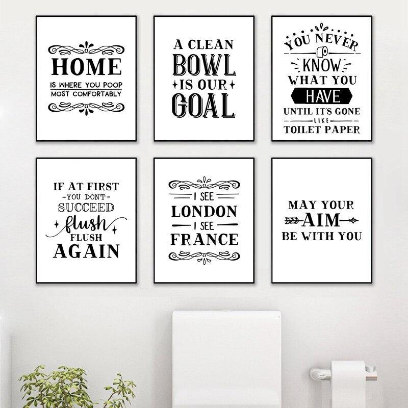Funny Bathroom Typography Quotes Gallery Wall Art Prints 2