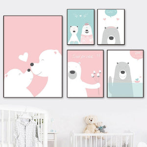 Bear Balloon Baby Blue and Pink Soft Color Gallery Wall Art Prints from Gallery Wallrus | Eclectic Wall Art & Decor with Worldwide Shipping