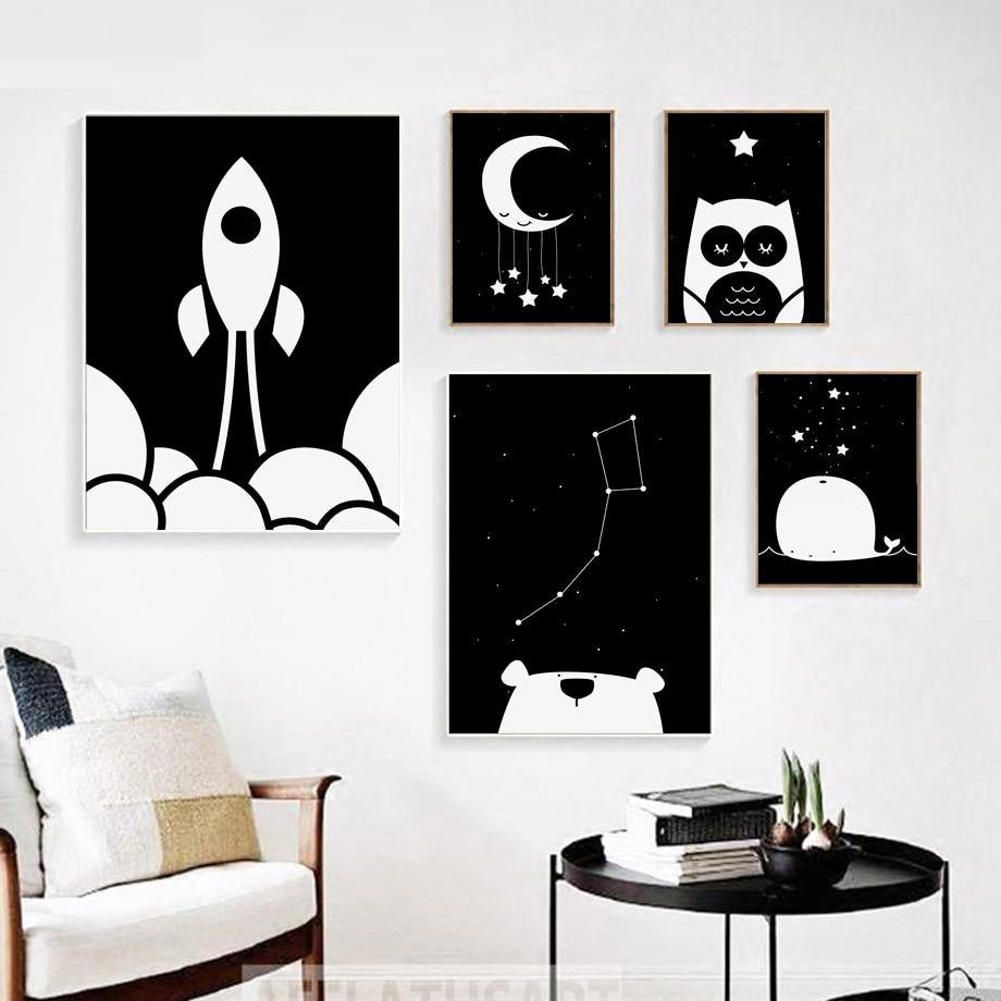 Bear Whale Owl Moon Sun Rocket Black And White Wall Art Prints from Gallery Wallrus | Eclectic Wall Art & Decor with Worldwide Shipping