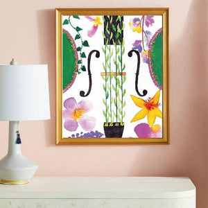 Floral Violin Watercolor Abstract Painting from Gallery Wallrus | Eclectic Wall Art & Decor with Worldwide Shipping