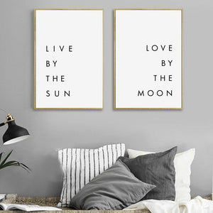 Live by the Sun Love by the Moon Typography Art Print Set from Gallery Wallrus | Eclectic Wall Art & Decor with Worldwide Shipping