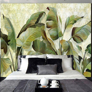 Big Green Banana Leaves Plant Wall Mural from Gallery Wallrus | Eclectic Wall Art & Decor with Worldwide Shipping