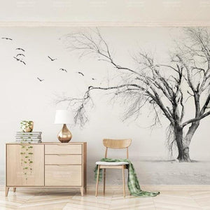 Dramatic White Tree Bird Wall Mural from Gallery Wallrus | Eclectic Wall Art & Decor with Worldwide Shipping