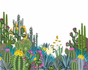 3D Tropical Cactus Flower Wall Mural from Gallery Wallrus | Eclectic Wall Art & Decor with Worldwide Shipping