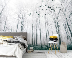 Black and White Big Tree Forest Bird Wall Mural from Gallery Wallrus | Eclectic Wall Art & Decor with Worldwide Shipping