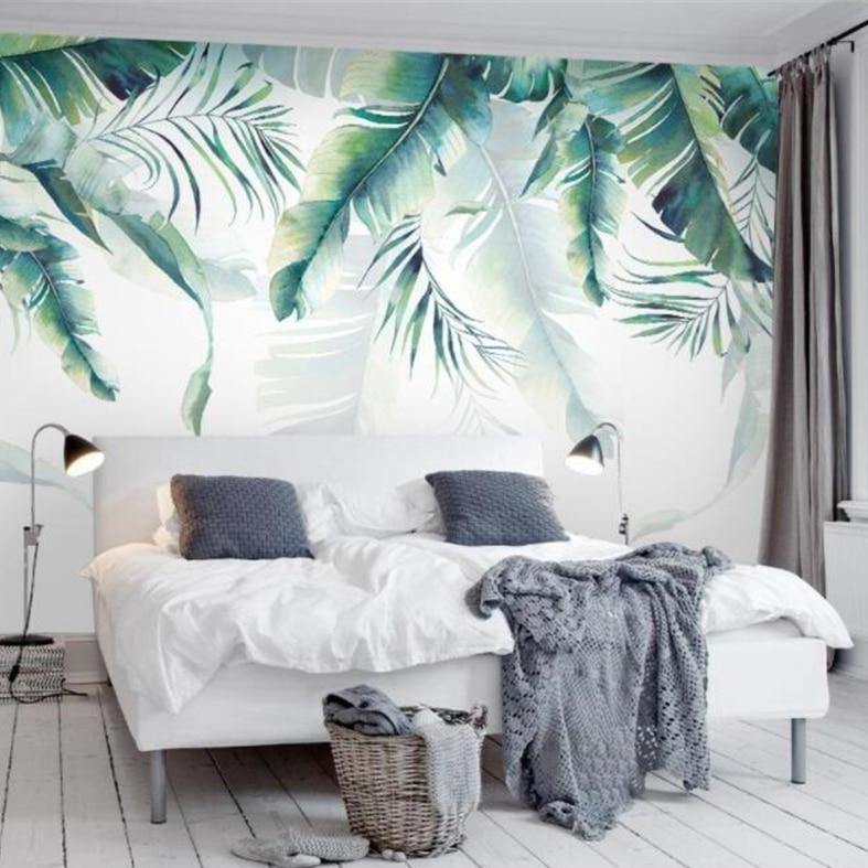 Palm Banana Leaves Shadows Wall Mural from Gallery Wallrus | Eclectic Wall Art & Decor with Worldwide Shipping