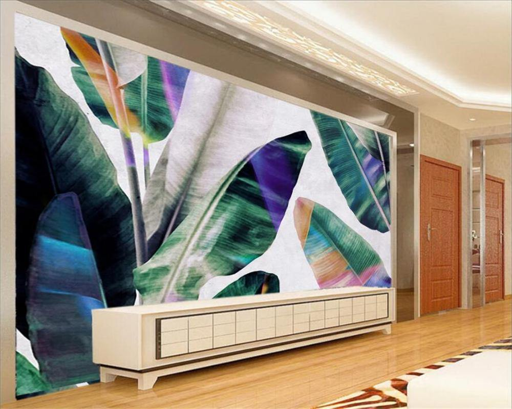Huge Colorful Palm Leaves Plants Wall Mural from Gallery Wallrus | Eclectic Wall Art & Decor with Worldwide Shipping