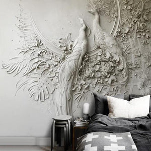 3D Embossed Two Peacock Gray Wall Mural from Gallery Wallrus | Eclectic Wall Art & Decor with Worldwide Shipping