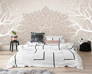 White Branch Abstract Flower Pattern Wall Mural from Gallery Wallrus | Eclectic Wall Art & Decor with Worldwide Shipping