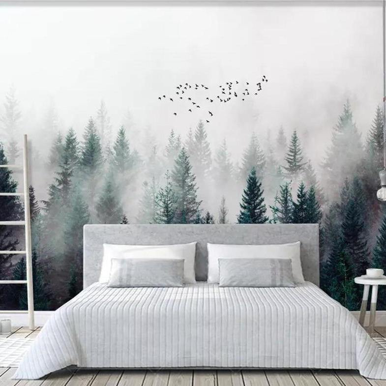 White Trees Birds Misty Forest Wall Mural from Gallery Wallrus | Eclectic Wall Art & Decor with Worldwide Shipping