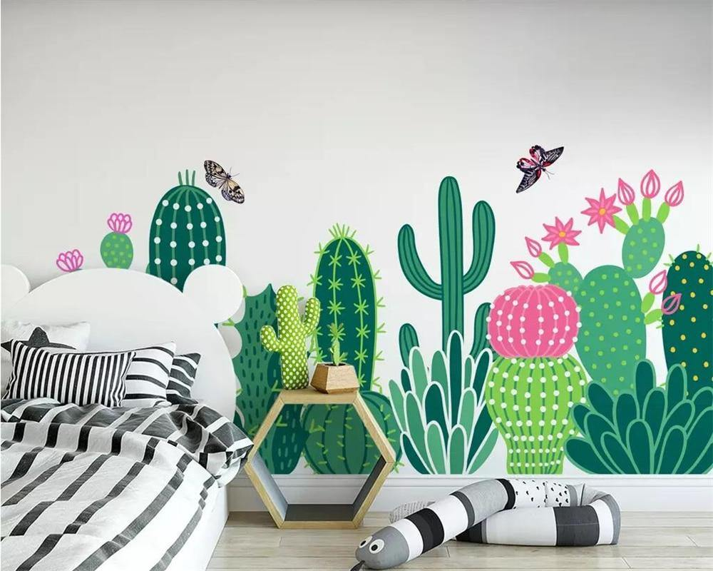 Children Garden Cactus Butterfly Art Wall Mural from Gallery Wallrus | Eclectic Wall Art & Decor with Worldwide Shipping
