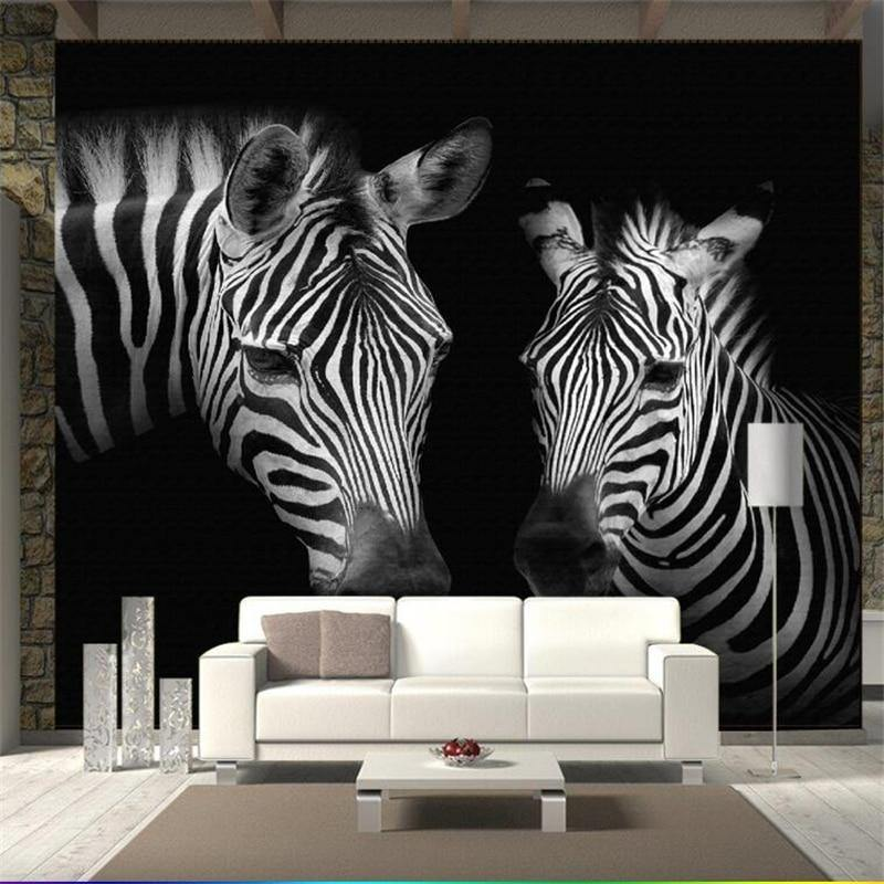 Beibehang Custom wallpaper retro retro black and white zebra mural background wall custom large mural green wallpaper mural from Gallery Wallrus | Eclectic Wall Art & Decor with Worldwide Shipping