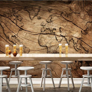 Vintage Wood Grain World Map Wall Mural from Gallery Wallrus | Eclectic Wall Art & Decor with Worldwide Shipping