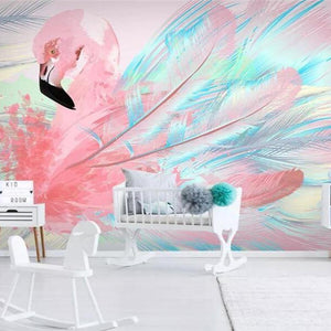 Dazzling Big Flamingo Feather Art Wall Mural from Gallery Wallrus | Eclectic Wall Art & Decor with Worldwide Shipping