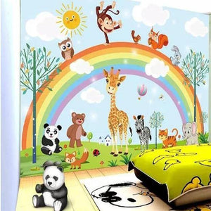 Rainbow & Zoo Animals Wall Mural from Gallery Wallrus | Eclectic Wall Art & Decor with Worldwide Shipping