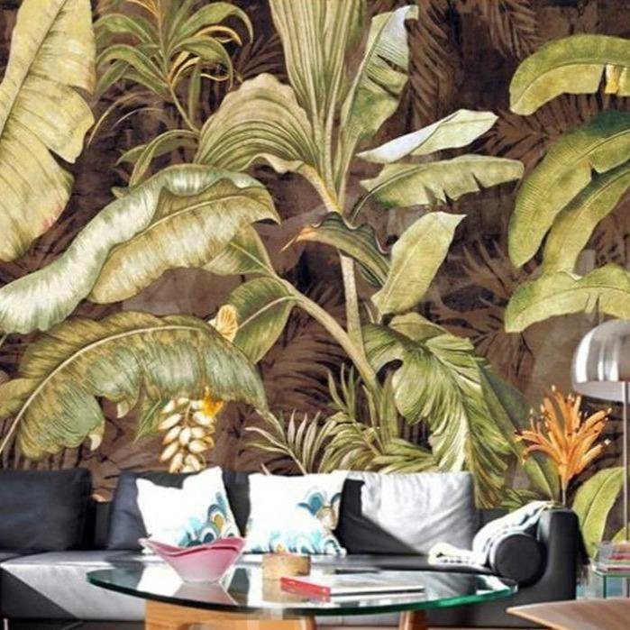 Retro Brown Palm Banana Plant Leaves Wall Mural from Gallery Wallrus | Eclectic Wall Art & Decor with Worldwide Shipping
