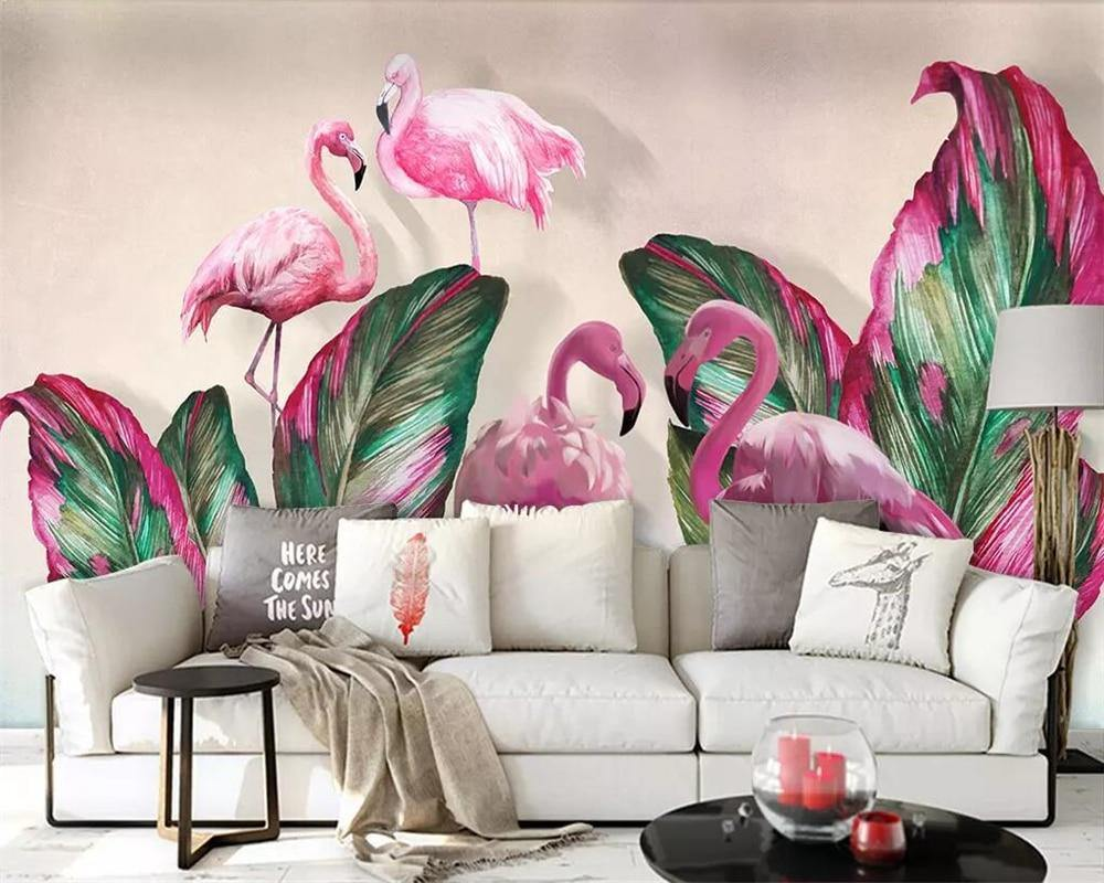 Pink and Green Flamingo with Tropical Banana Leaves Wall Mural from Gallery Wallrus | Eclectic Wall Art & Decor with Worldwide Shipping