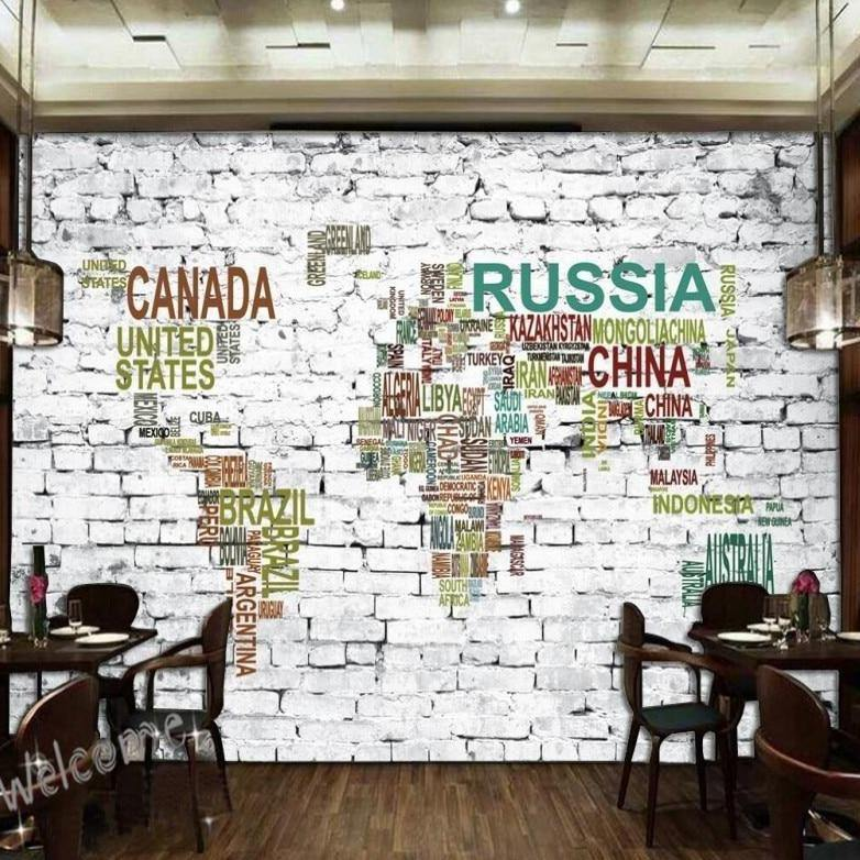 White Bricks Big Countries Map Wall Mural from Gallery Wallrus | Eclectic Wall Art & Decor with Worldwide Shipping