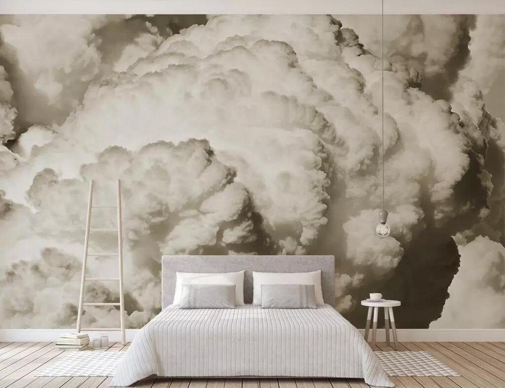 Black and White Nostalgic Clouds Birds 3D Wall Mural from Gallery Wallrus | Eclectic Wall Art & Decor with Worldwide Shipping