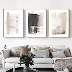 Watercolor Beige & Gray Tones Abstract Art Trio from Gallery Wallrus | Eclectic Wall Art & Decor with Worldwide Shipping