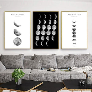 Black and White Moon Phases Photography Abstract Gallery Wall Prints from Gallery Wallrus | Eclectic Wall Art & Decor with Worldwide Shipping